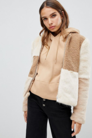Only faux fur patched cropped coat €55,49