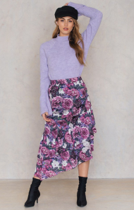 Na-kd Bottom Frill Satin Midi Purple €6,26