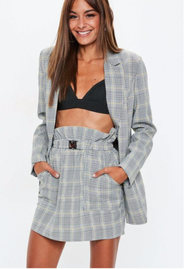 Missguided Grey Heritage Check Paperbag Waist Mini Skirt €24,75